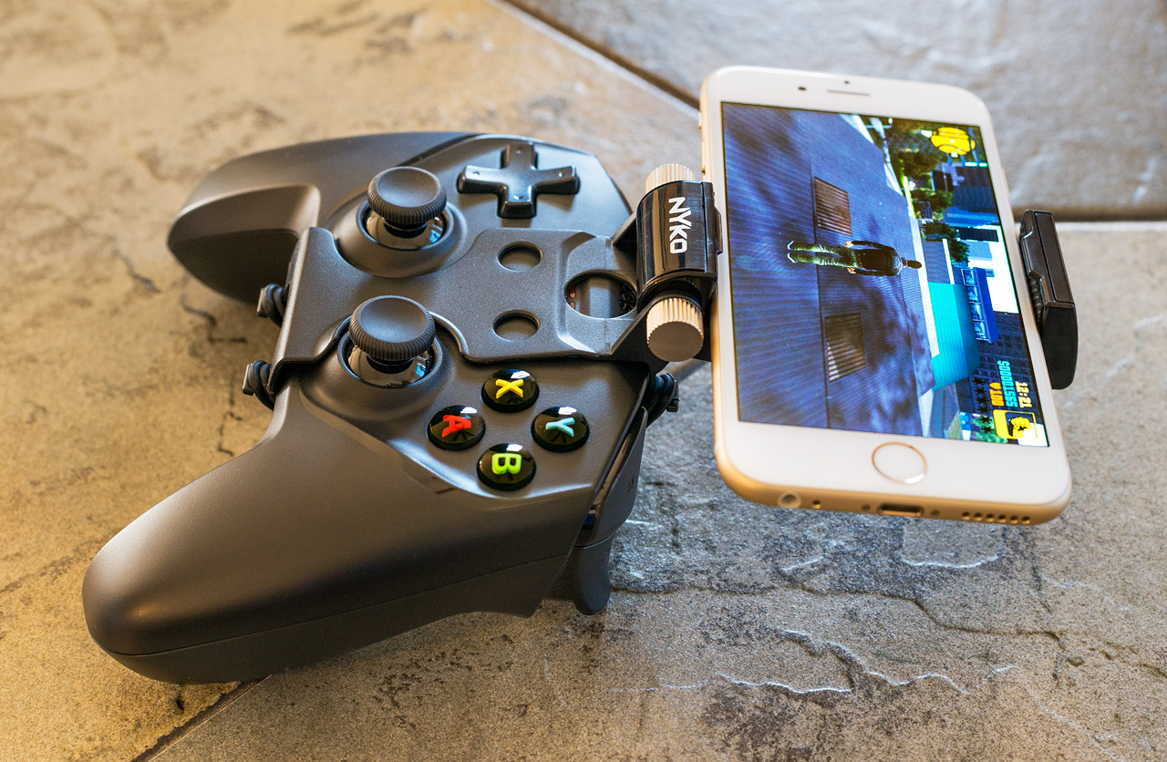 SteelSeries Nimbus + Nyko grip + iPhone playing GTA